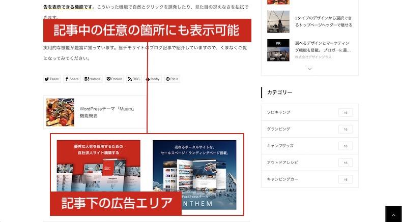 記事広告の表示例